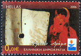 "GREECE - CIRCA 2006: A stamp printed in Greece from the ""Patra European Capital of Culture 2006"" issue shows Ancient Drama, circa 2006. — Stock Photo"