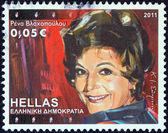 "GREECE - CIRCA 2011: A stamp printed in Greece from the ""Greek Actors"" issue shows Rena Vlachopoulou, circa 2011. — Stock Photo"