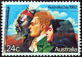 """Australia - circa 1982: un sello impreso en australia desde el tema """"día de australia"""" muestra las """"tres grandes oleadas de migración"""", circa 1982. — Foto de Stock"""
