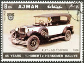"AJMAN EMIRATE - CIRCA 1970: A stamp printed in United Arab Emirates from the ""65th Anniversary of the Hubert V. Herkomer Rallye"" issue shows Fiat - 520 Torpedo of 1928, circa 1970. — Stock Photo"