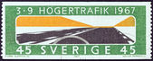 "SWEDEN - CIRCA 1967: A stamp printed in Sweden issued for the adoption of changed rule of the road shows ""Keep to the Right"", circa 1967. — Stock Photo"