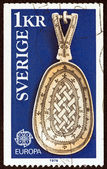 """SWEDEN - CIRCA 1976: A stamp printed in Sweden from the """"Europa. Handicrafts"""" issue shows a Lapp Spoon, circa 1976. — Stock Photo"""