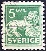 SWEDEN - CIRCA 1920: A stamp printed in Sweden shows a lion (after sculpture by B. Foucquet), circa 1920. — Stock Photo