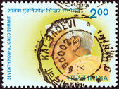 INDIA - CIRCA 1983: A stamp printed in India issued for the 7th Non aligned Summit Conference, New Delhi shows the first Prime minister of India Jawaharlal Nehru, circa 1983. — Stock Photo