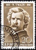 "ROMANIA - CIRCA 1960: A stamp printed in Romania from the ""Cultural Anniversaries"" issue shows Mark Twain (writer, 50th death anniversary), circa 1960. — Stock Photo"