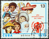CUBA - CIRCA 1979: A stamp printed in Cuba issued for the International Year of the Child shows children from around the world, circa 1979. — Stock Photo