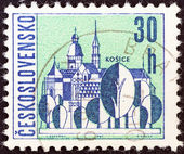 "CZECHOSLOVAKIA - CIRCA 1965: A stamp printed in Czechoslovakia from the ""Czechoslovaki an Towns"" issue shows Kosice, circa 1965. — Stock Photo"