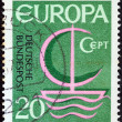 "GERMANY - CIRCA 1966: A stamp printed in Germany from the ""Europa"" issue shows Europa ship, circa 1966. — Stock Photo #27370439"