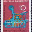 "GERMANY - CIRCA 1968: A stamp printed in Germany from the ""Scientific anniversaries (3rd series)"" issue shows Koenig's Printing Machine (150th anniversary), circa 1968. — Stock Photo"