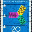 "GERMANY - CIRC1966: stamp printed in Germany from ""Scientific anniversaries (2nd series)"" issue shows diagram of A.C. Transmission (75th anniversary), circ1966. — Stock Photo #27370505"