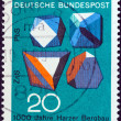 "GERMANY - CIRCA 1968: A stamp printed in Germany from the ""Scientific anniversaries (3rd series)"" issue shows Ore Crystals (Millenary of ore mining in Harz Mountains), circa 1968. — Stock Photo"
