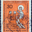 GERMANY - CIRCA 1966: A stamp printed in Germany from the Catholics' Day issue shows Christ and fishermen (Miracle of the fishes), circa 1966.  — Stock Photo