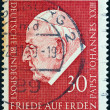 "Stock Photo: GERMANY - CIRC1969: stamp printed in Germany from ""Pope John XXIII Commemoration"" issue shows Pope John XXIII, circ1969."