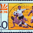"Stock Photo: GERMANY - CIRC1974: stamp printed in Germany from ""World Cup Football Championship"" issue shows midfield melee, circ1974."
