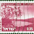 """ISRAEL - CIRCA 1973: A stamp printed in Israel from the """"Landscapes"""" issue shows Brekhat Ram lake, circa 1973. — Stock Photo"""