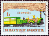 HUNGARY - CIRCA 1971: A stamp printed in Hungary issued for the 125th anniversary of Hungarian Railways shows Locomotive Bets and Route Map (1846), circa 1971. — Stock Photo