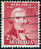 AUSTRALIA - CIRCA 1947: A stamp printed in Australia issued for the 150th anniversary of city of Newcastle shows Lt. John Shortland, Royal Navy, circa 1947. — Stock Photo