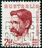 AUSTRALIA - CIRCA 1949: A stamp printed in Australia shows writer and poet Henry Lawson, circa 1949. — Stock Photo