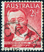 AUSTRALIA - CIRCA 1948: A stamp printed in Australia shows botanist Sir Ferdinand von Mueller, circa 1948. — Stock Photo