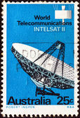 "AUSTRALIA - CIRCA 1968: A stamp printed in Australia from the ""World Telecommunications via Intelsat II"" issue shows Radar Antenna, circa 1968. — Stock Photo"