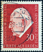 "GERMANY - CIRCA 1969: A stamp printed in Germany from the ""Pope John XXIII Commemoration"" issue shows Pope John XXIII, circa 1969. — Stock Photo"