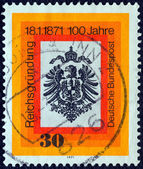 GERMANY - CIRCA 1971: A stamp printed in Germany issued for the Centenary of German Unification shows German Eagle, circa 1971. — Stock Photo