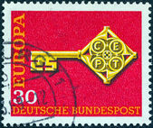 """GERMANY - CIRCA 1968: A stamp printed in Germany from the """"Europa"""" issue shows Europa Key, circa 1968. — Stock Photo"""