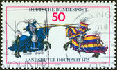 GERMANY - CIRCA 1975: A stamp printed in Germany issued for the 500th anniversary of Landshut Wedding festival shows Jousting Contest, circa 1975. — Stock Photo