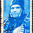 "ROMANIA - CIRCA 1961: A stamp printed in Romania from the ""World's First Manned Space Flight"" issue shows Yuri Gagarin in Capsule, circa 1961. — Stock Photo #28172361"