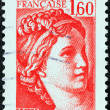"FRANCE - CIRCA 1981: A stamp printed in France shows Sabine from the ""the kidnapping of the Sabines"" painting by Jacques-Louis David, circa 1981. — Stock Photo"
