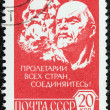 USSR - CIRCA 1976: A stamp printed in USSR shows Marx and Lenin (sculpture, Ye. Belostotsky and E. Fridman), circa 1976. — Stock Photo