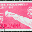Stock Photo: ROMANI- CIRC1958: stamp printed in Romaniissued for Youth Fencing World Championships, Bucharest, shows Fencer in Global Mask, circ1958.