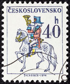 "CZECHOSLOVAKIA - CIRCA 1974: A stamp printed in Czechoslovakia from the ""Czechoslovak Postal Services"" issue shows Postilion, circa 1974. — 图库照片"