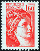 """FRANCE - CIRCA 1981: A stamp printed in France shows Sabine from the """"the kidnapping of the Sabines"""" painting by Jacques-Louis David, circa 1981. — Stock Photo"""