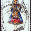 "SPAIN - CIRCA 1970: A stamp printed in Spain from the ""Provincial Costumes"" issue shows a woman from Salamanca, circa 1970. — Stock Photo"