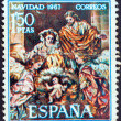 "SPAIN - CIRCA 1967: A stamp printed in Spain from the ""Christmas"" issue shows the Nativity (after Francisco Salzillo), circa 1967. — Stock Photo"