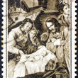 "SPAIN - CIRCA 1964: A stamp printed in Spain from the ""Christmas"" issue shows Adoration of the Shepherds (after Francisco de Zurbaran), circa 1964. — Stock Photo"