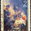 "SPAIN - CIRCA 1970: A stamp printed in Spain from the ""Christmas"" issue shows The Adoration of the Shepherds (after Bartolome Esteban Murillo), circa 1970. — Stock Photo"