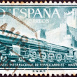 SPAIN - CIRCA 1958: A stamp printed in Spain from the 17th international railway congress, Madrid issue shows Class 242F steam locomotive and Castillo de La Mota, circa 1958.  — Stock Photo