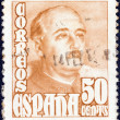 SPAIN - CIRCA 1948: A stamp printed in Spain shows a portrait of Francisco Franco, circa 1948. — Stock Photo