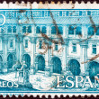 SPAIN - CIRCA 1960: A stamp printed in Spain shows Samos Monastery, circa 1960.  — 图库照片