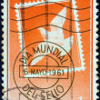 "SPAIN - CIRCA 1961: A stamp printed in Spain from the ""World Stamp Day"" issue shows Stamp and Postmark, circa 1961. — Foto Stock"