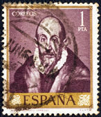 SPAIN - CIRCA 1961: A stamp printed in Spain from the shows a self portrait of El Greco, circa 1961. — Stock Photo