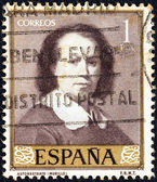"SPAIN - CIRCA 1960: A stamp printed in Spain from the ""Stamp Day and Murillo Commemoration"" issue shows self-portrait of Bartolome Esteban Murillo, circa 1960. — Stock Photo"