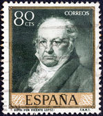 SPAIN - CIRCA 1958: A stamp printed in Spain shows painter Francisco Goya after Vicente Lopez, circa 1958. — Stock fotografie