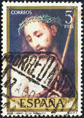 "SPAIN - CIRCA 1970: A stamp printed in Spain from the ""Stamp day and Luis de Morales commemoration"" issue shows Ecce Homo, circa 1970. — Stock Photo"