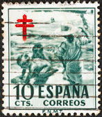 "SPAIN - CIRCA 1951: A stamp printed in Spain from the ""Anti-tubercul osis Fund"" issue shows children on beach, circa 1951. — Zdjęcie stockowe"