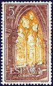 Um selo imprimido em Espanha mostra o Mosteiro de Poblet, cerca de 1963. — Fotografia Stock