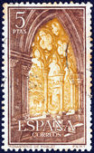 SPAIN - CIRCA 1963: A stamp printed in Spain shows Poblet Monastery, circa 1963. — Foto Stock