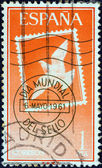 "SPAIN - CIRCA 1961: A stamp printed in Spain from the ""World Stamp Day"" issue shows Stamp and Postmark, circa 1961. — ストック写真"